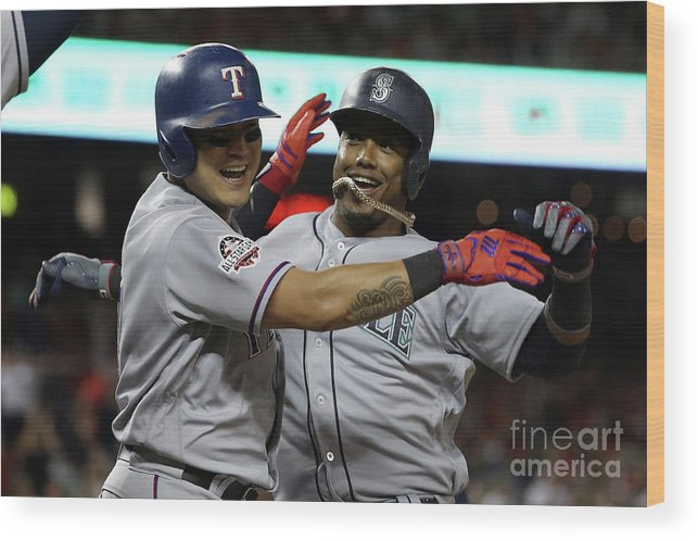 People Wood Print featuring the photograph Jean Segura and Shin-soo Choo by Patrick Smith
