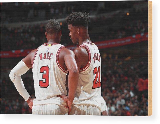 Nba Pro Basketball Wood Print featuring the photograph Jimmy Butler and Dwyane Wade by Jeff Haynes