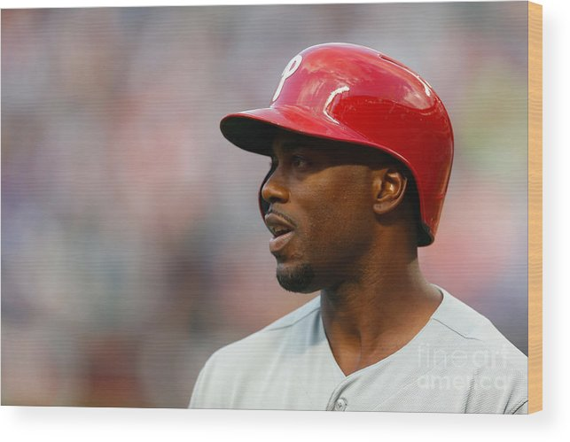 American League Baseball Wood Print featuring the photograph Jimmy Rollins by Mike Stobe