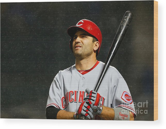 American League Baseball Wood Print featuring the photograph Joey Votto by Mike Stobe