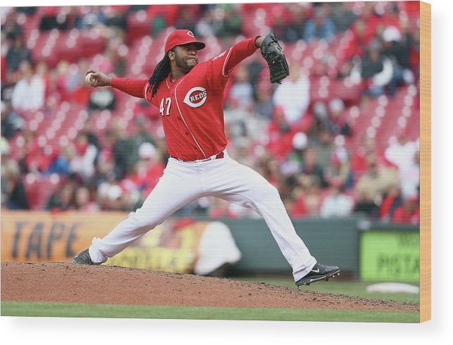 Great American Ball Park Wood Print featuring the photograph Johnny Cueto by Andy Lyons
