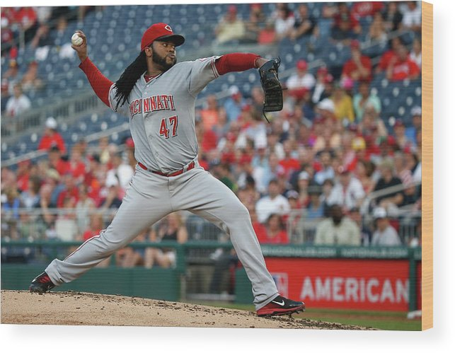 People Wood Print featuring the photograph Johnny Cueto by Rob Carr