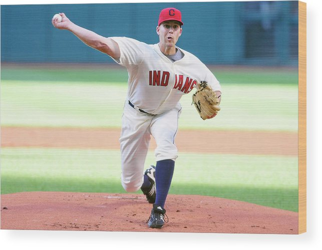 American League Baseball Wood Print featuring the photograph Justin Masterson by Jason Miller
