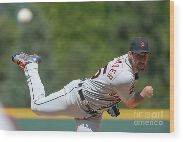 People Wood Print featuring the photograph Justin Verlander by Dustin Bradford
