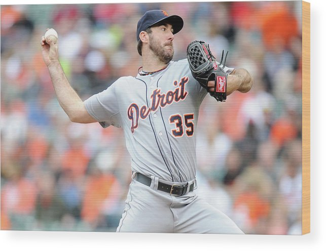 American League Baseball Wood Print featuring the photograph Justin Verlander by Greg Fiume