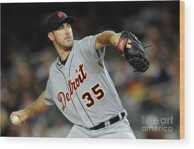American League Baseball Wood Print featuring the photograph Justin Verlander by Patrick Mcdermott