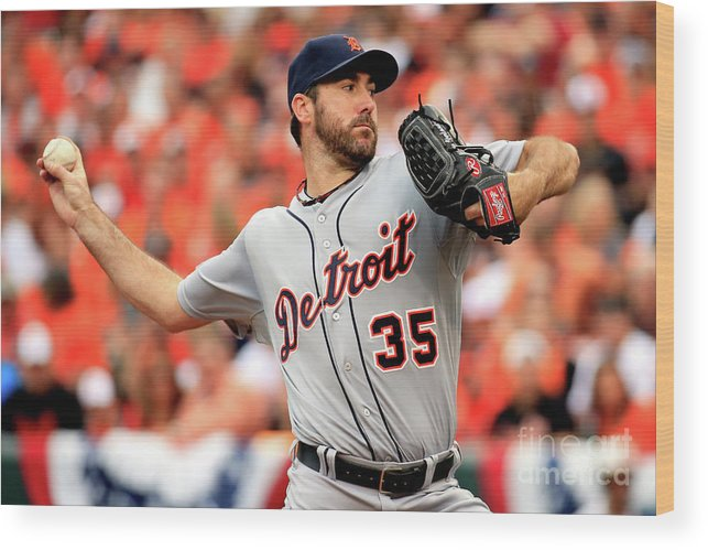Game Two Wood Print featuring the photograph Justin Verlander by Rob Carr