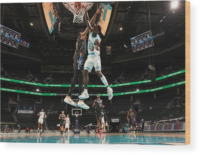 Nba Pro Basketball Wood Print featuring the photograph Kevin Durant and Terry Rozier by Kent Smith