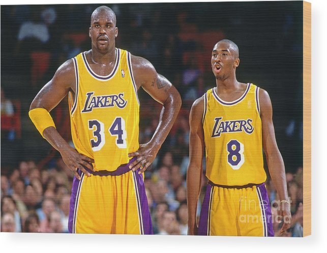 Nba Pro Basketball Wood Print featuring the photograph Kobe Bryant and Shaquille O'neal by Andrew D. Bernstein