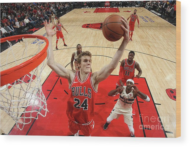 Chicago Bulls Wood Print featuring the photograph Lauri Markkanen by Gary Dineen