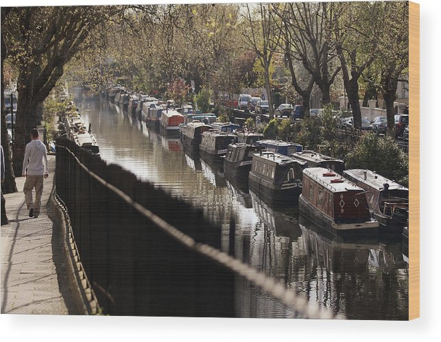 England Wood Print featuring the photograph Londoners Enjoy The Warm Spring Weather by Oli Scarff