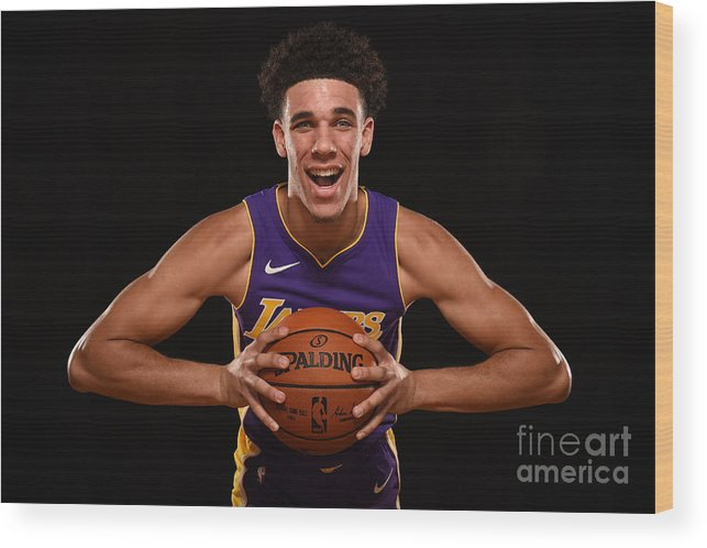 Nba Pro Basketball Wood Print featuring the photograph Lonzo Ball by Brian Babineau