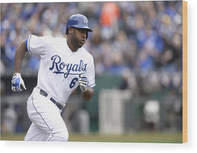American League Baseball Wood Print featuring the photograph Lorenzo Cain by John Williamson