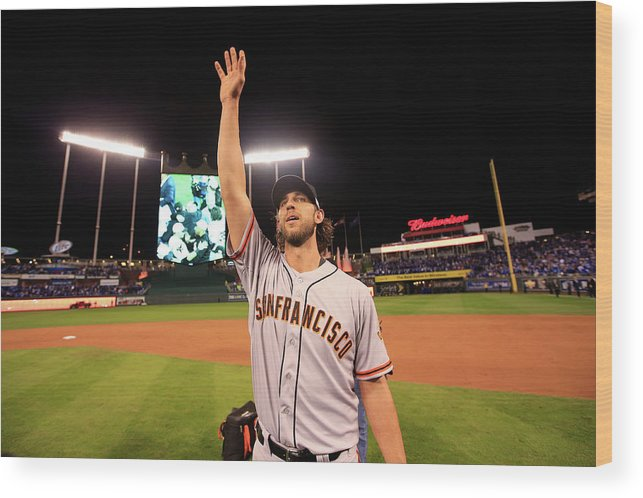 People Wood Print featuring the photograph Madison Bumgarner by Jamie Squire