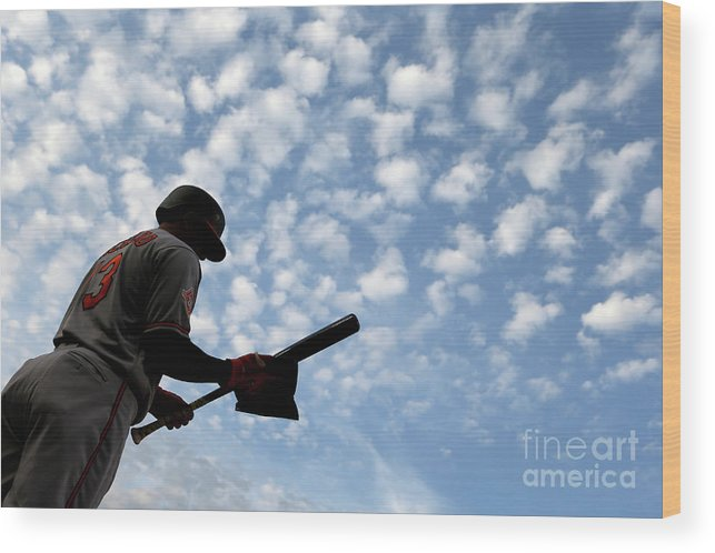 Three Quarter Length Wood Print featuring the photograph Manny Machado by Matt Hazlett