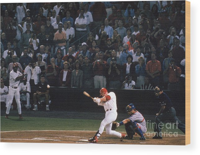 St. Louis Cardinals Wood Print featuring the photograph Mark Mcgwire and Roger Maris by Bill Stover