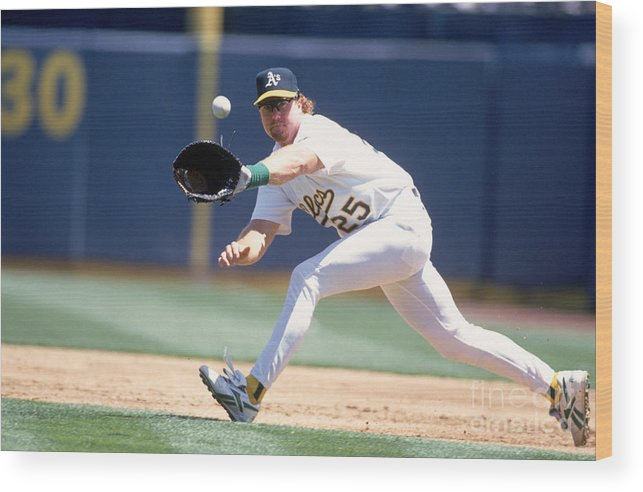 1980-1989 Wood Print featuring the photograph Mark Mcgwire by Jeff Carlick