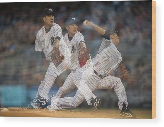 American League Baseball Wood Print featuring the photograph Masahiro Tanaka by Rob Tringali