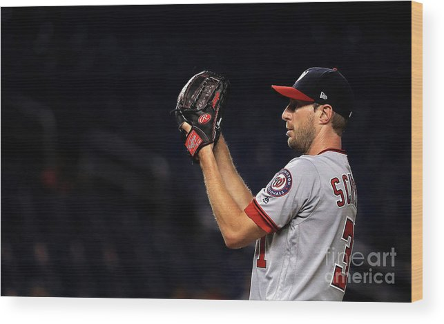 People Wood Print featuring the photograph Max Scherzer by Mike Ehrmann