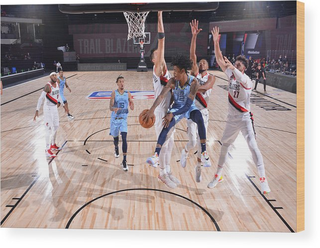 Nba Pro Basketball Wood Print featuring the photograph Memphis Grizzlies v Portland Trail Blazers by Jesse D. Garrabrant