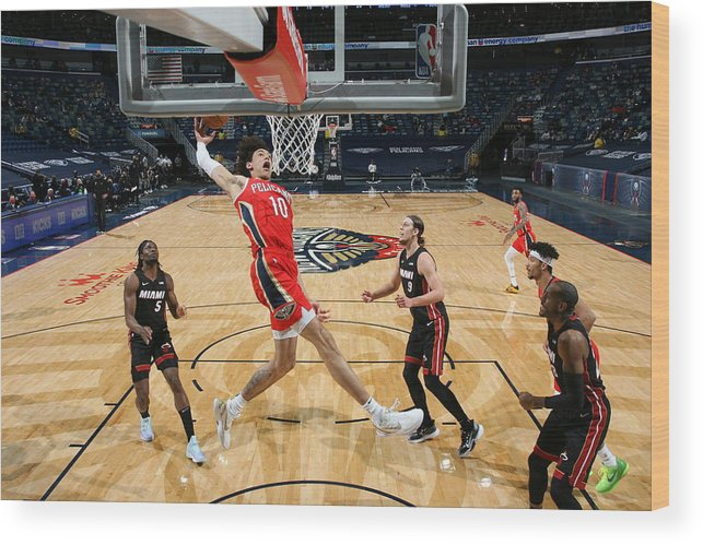 Smoothie King Center Wood Print featuring the photograph Miami Heat v New Orleans Pelicans by Layne Murdoch Jr.