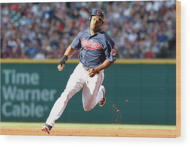 Michael Bourn Wood Print featuring the photograph Michael Bourn by David Maxwell