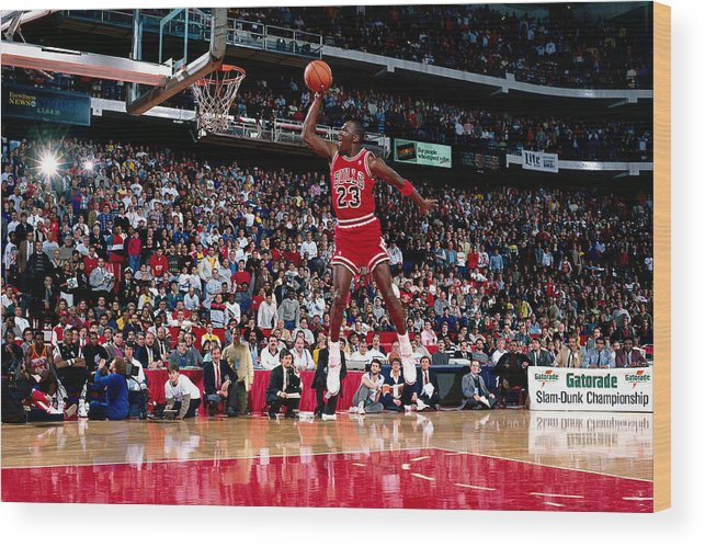 Chicago Bulls Wood Print featuring the photograph Michael Jordan by Andrew D. Bernstein