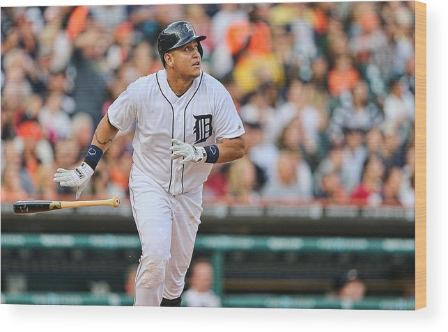 American League Baseball Wood Print featuring the photograph Miguel Cabrera by Leon Halip