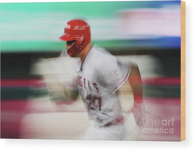 Three Quarter Length Wood Print featuring the photograph Mike Trout by Patrick Smith