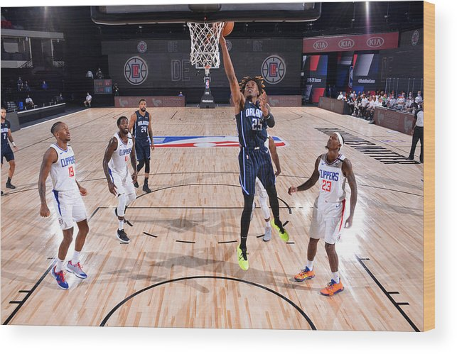 Nba Pro Basketball Wood Print featuring the photograph Orlando Magic v Los Angeles Clippers by Jesse D. Garrabrant