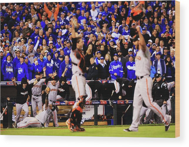 People Wood Print featuring the photograph Pablo Sandoval, Madison Bumgarner, and Buster Posey by Jamie Squire