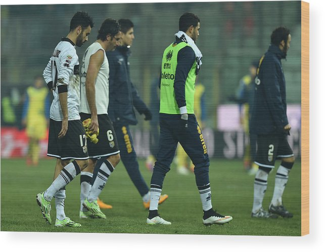 Sports Ball Wood Print featuring the photograph Parma FC v AC Chievo Verona - Serie A by Valerio Pennicino