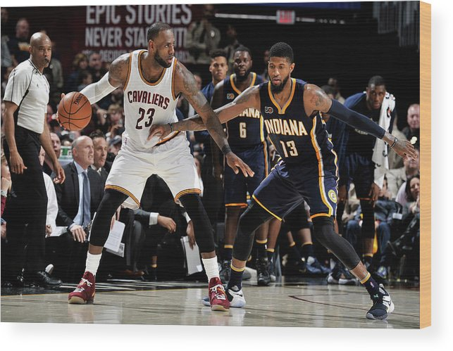 Nba Pro Basketball Wood Print featuring the photograph Paul George and Lebron James by David Liam Kyle