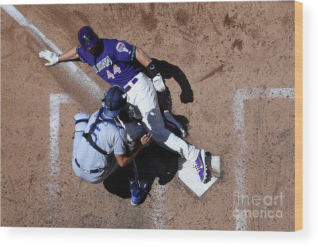 Baseball Catcher Wood Print featuring the photograph Paul Goldschmidt and Austin Barnes by Christian Petersen
