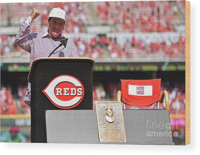 Great American Ball Park Wood Print featuring the photograph Pete Rose by Jamie Sabau