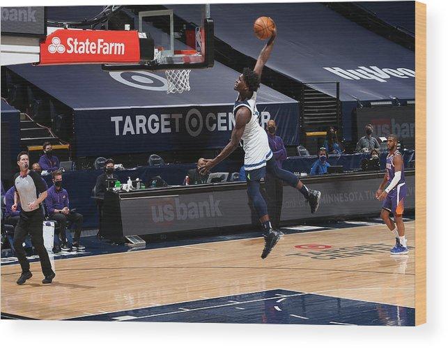 Nba Pro Basketball Wood Print featuring the photograph Phoenix Suns v Minnesota Timberwolves by David Sherman