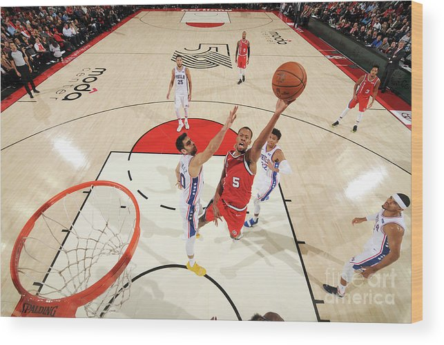 Nba Pro Basketball Wood Print featuring the photograph Rodney Hood by Cameron Browne