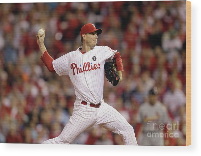 Citizens Bank Park Wood Print featuring the photograph Roy Halladay by Rob Carr