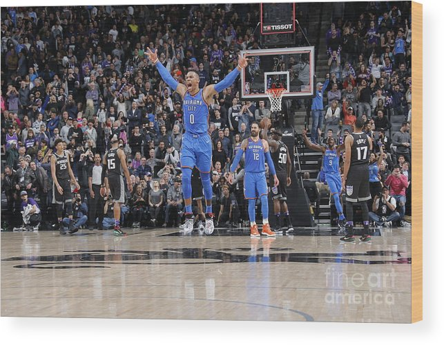 Nba Pro Basketball Wood Print featuring the photograph Russell Westbrook by Rocky Widner