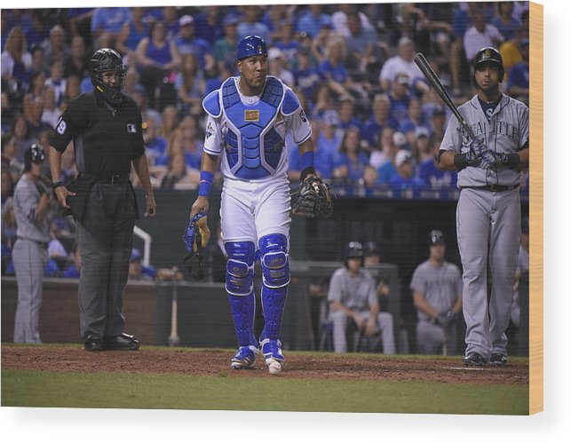 Salvador Perez Diaz Wood Print featuring the photograph Seattle Mariners v Kansas City Royals by Ed Zurga