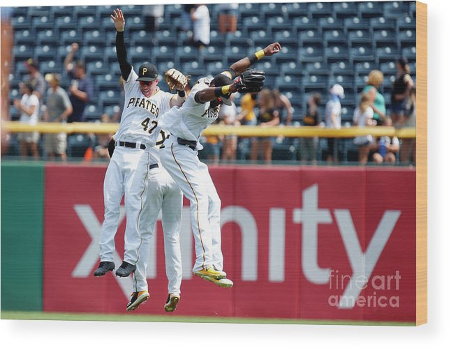 People Wood Print featuring the photograph Starling Marte and Gregory Polanco by Justin K. Aller