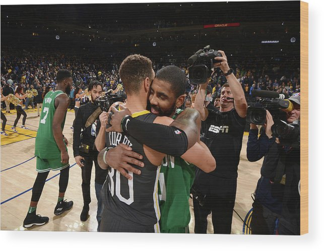 Nba Pro Basketball Wood Print featuring the photograph Stephen Curry and Kyrie Irving by Noah Graham
