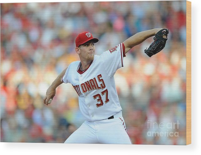 Stephen Strasburg Wood Print featuring the photograph Stephen Strasburg by G Fiume
