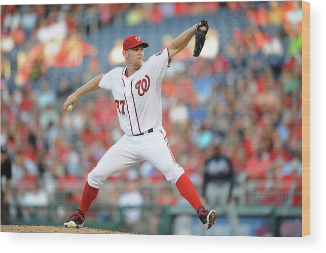 Second Inning Wood Print featuring the photograph Stephen Strasburg by Mitchell Layton