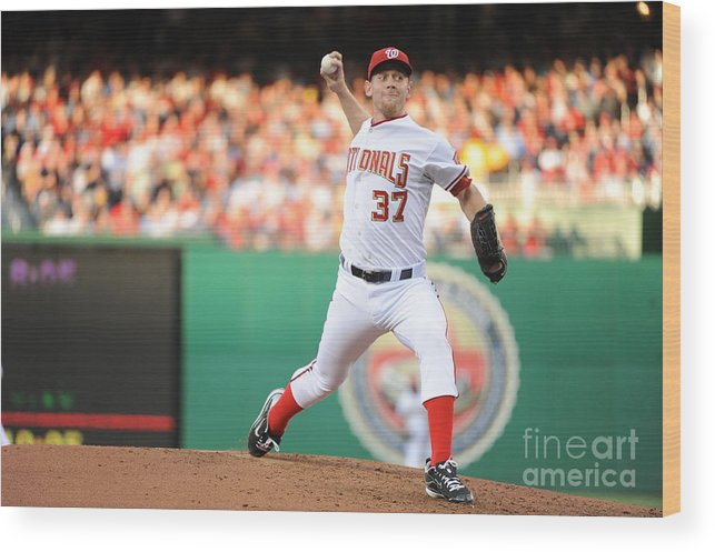 Stephen Strasburg Wood Print featuring the photograph Stephen Strasburg by Rich Pilling