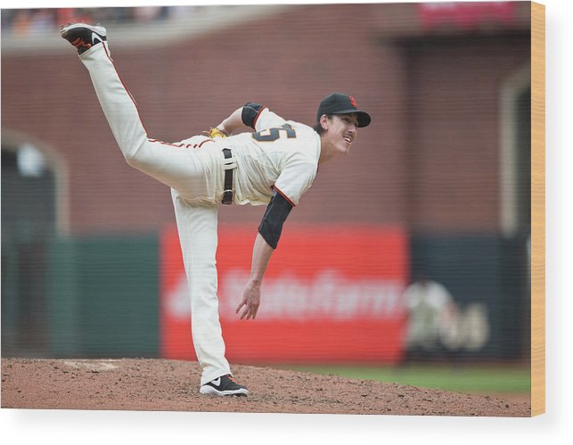 San Francisco Wood Print featuring the photograph Tim Lincecum by Jason O. Watson