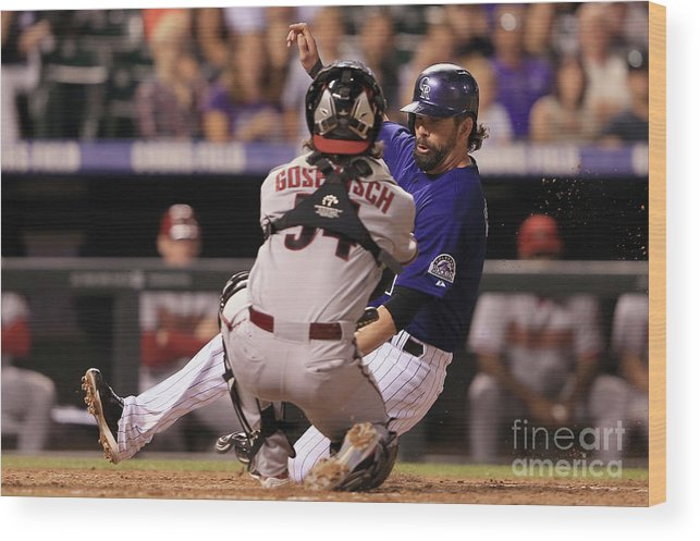 Baseball Catcher Wood Print featuring the photograph Todd Helton and Jordan Pacheco by Doug Pensinger