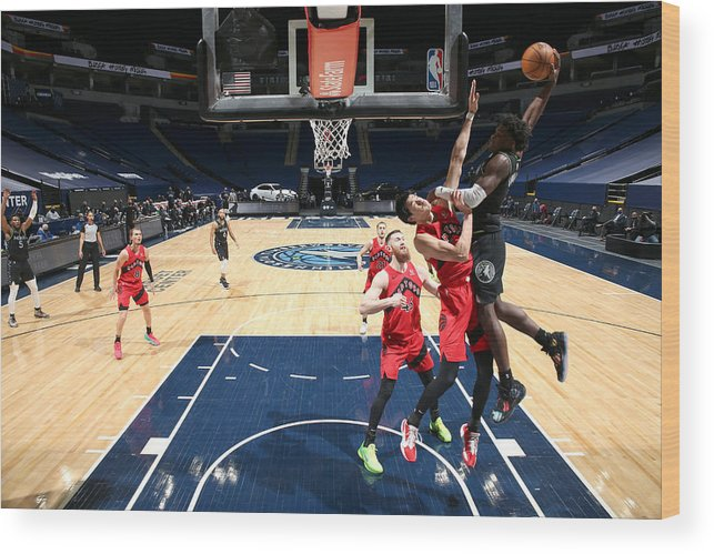 Nba Pro Basketball Wood Print featuring the photograph Toronto Raptors v Minnesota Timberwolves by David Sherman