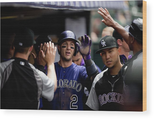 Second Inning Wood Print featuring the photograph Troy Tulowitzki by Justin Edmonds
