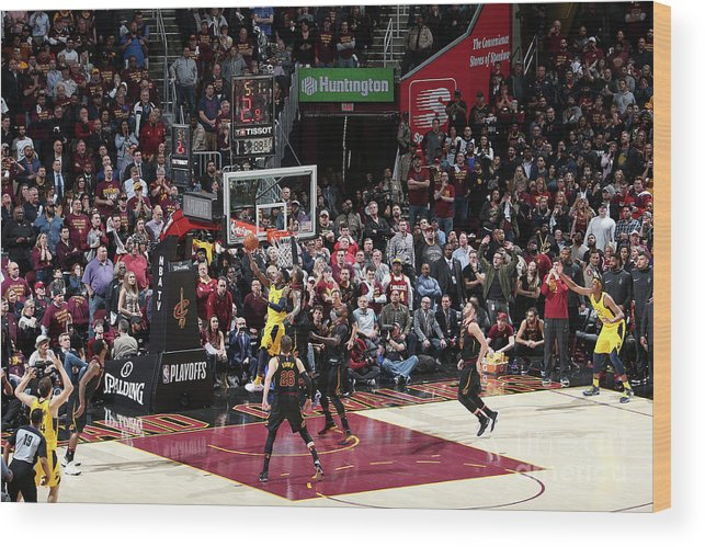 Playoffs Wood Print featuring the photograph Victor Oladipo and Lebron James by Nathaniel S. Butler